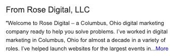 Rose Digital Google My Business description.