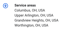 Service areas outlined for Rose Digital on Google My Business.