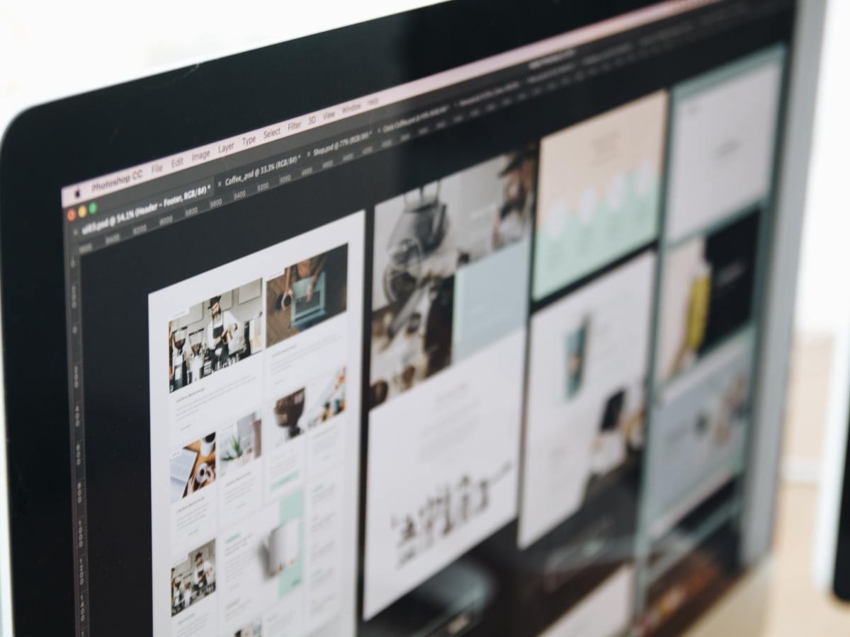 Desktop computer screen showing a website redesign.