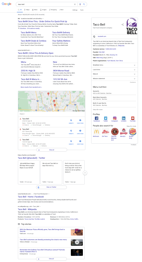 Taco Bell SERPs page featuring the best off-page SEO examples.