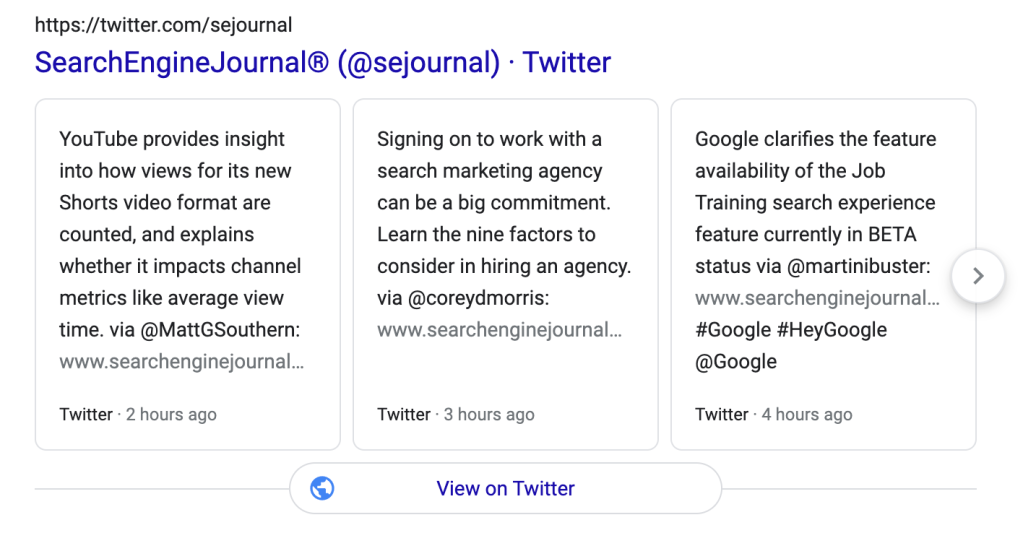 This is an example of how tweeting three or more times per day can populate Google's SERPs differently than tweeting 1 or fewer times per day. It takes up more space and looks more prominent.
