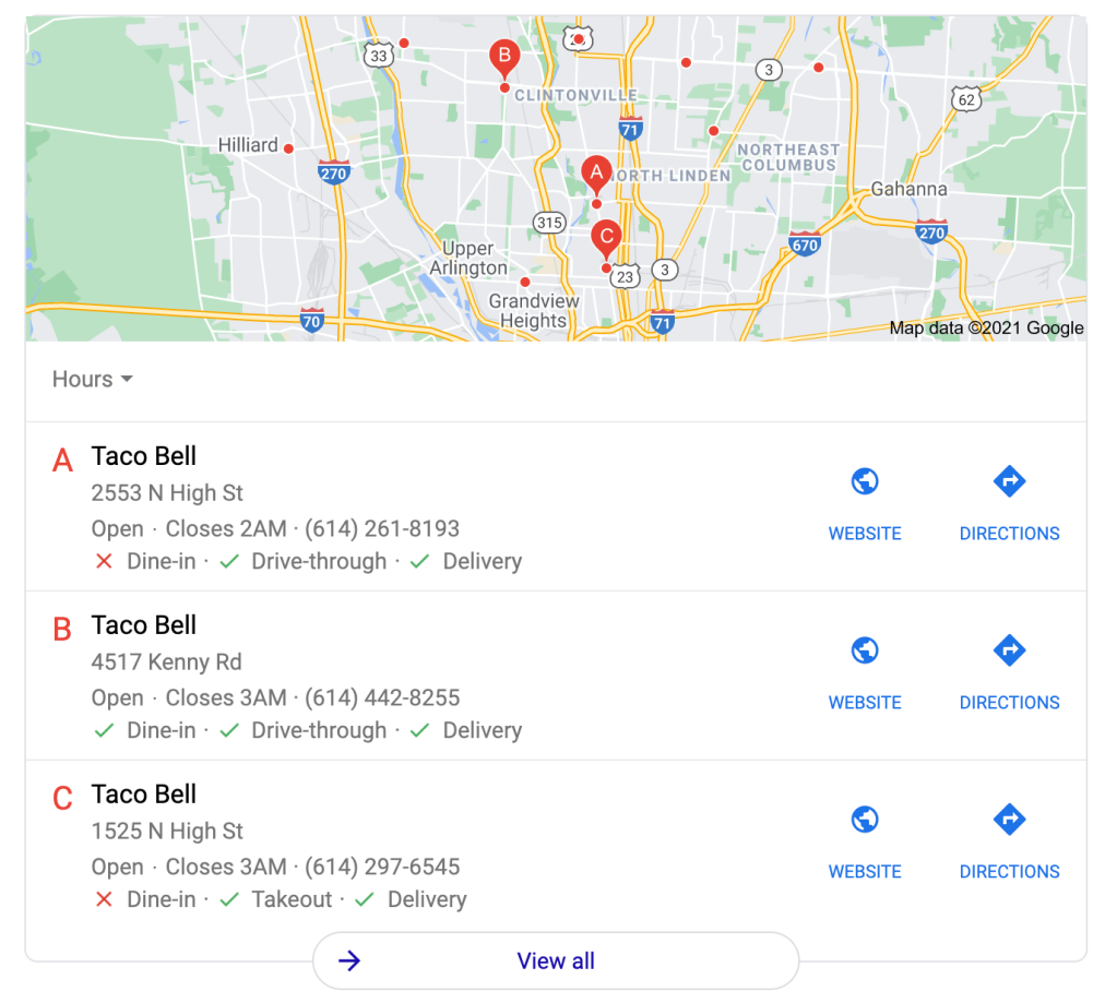 This is an example of how a Google My Business page will appear in a Local 3-Pack and how it can impact your off-page SEO.