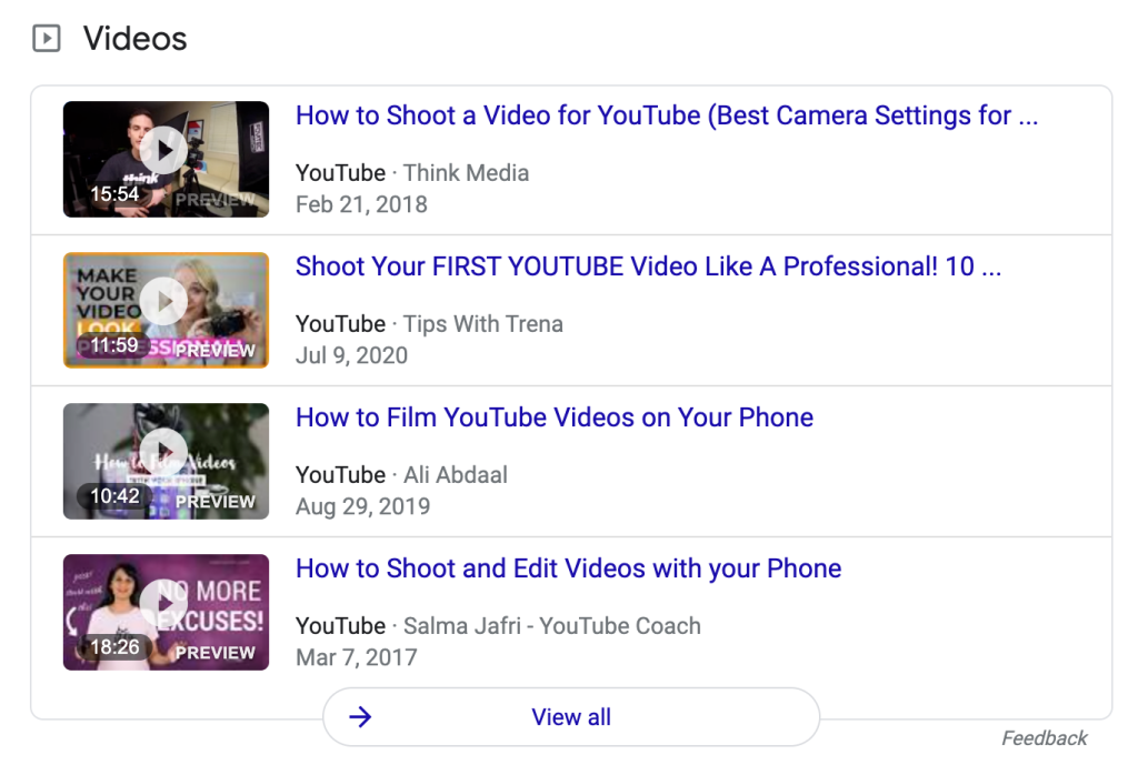 This is an example of how YouTube videos can appear in search results and impact off-page SEO.