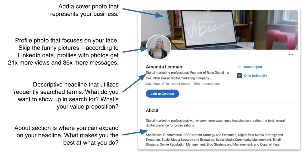 Example of a search optimized LinkedIn profile.