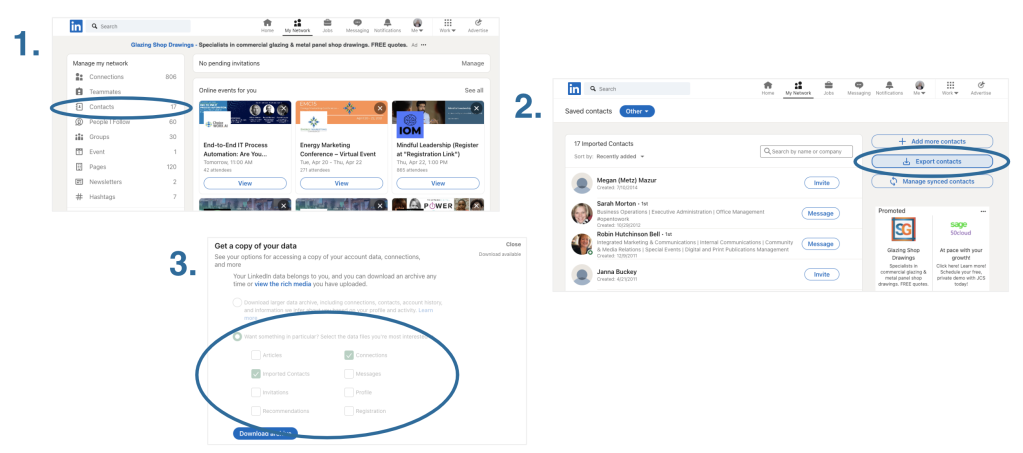 How to download your LinkedIn connections in three quick steps.