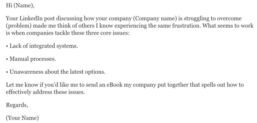 Example cold outreach message for LinkedIn.