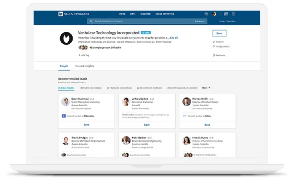 LinkedIn Sales Navigator allows sales teams to engage with contacts and accounts within the LinkedIn platform without barriers.